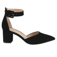 Leather Sandal Shoes Middle Block Heel Pointed Tow Hollow Close Back Ankle Strap Strappy Suede Women