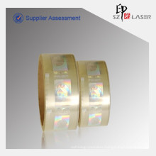 Export to Europe hologram hot stamping label with 2D/3D, flip-flop effect