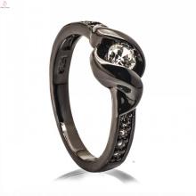 Conception noire argentée à la mode de bague en résine de diamant de jade des bijoux 925 de cuivre pour la femme