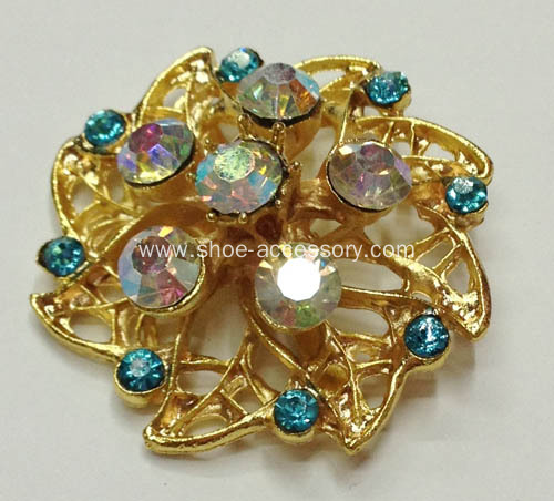 Gold Flower Shoe Clips with Colored Stone Embellished