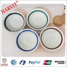 Bulk Cheap Ceramic Stoneware 7'' Soup Bowls With Color Green/Brown/Blue/Black Rims
