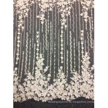 Stickerei weg von der weißen einzigartigen handgemachten Spitze für Hochzeits-Kleid 04