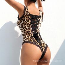 Женское боди без рукавов с квадратным воротником и завязками на спине