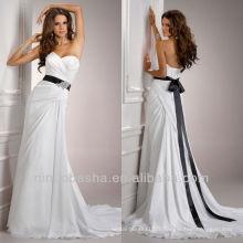 Simple Sweetheart Chiffon Gaine Empire Pleat Broche perlée Black Sash Robes de mariée Robes de mariée