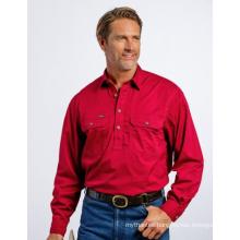 wholesale Men's Half Button 100% cotton work shirt custom workwear shirt