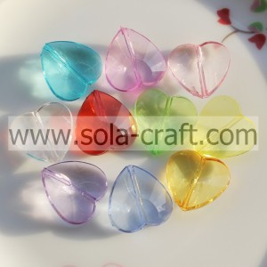20MM Transparent Colors Plastic Crystal Heart Spacer Beads Pattern