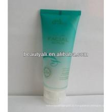Tubo de plástico para embalagens cosméticas com tampa superior