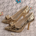 Zapatos de boda de oro brillo para damas de honor