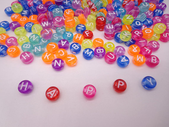 Transparent Alphabet Letter Beads