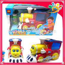 Electric Funny Carton Bubble Toy Train With Light Real Sound