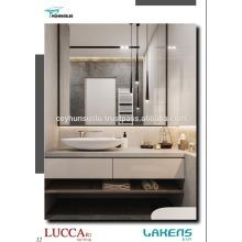 Badezimmer-Eitelkeit mit offenen Regalen und Hochglanz-PVC-beschichteten Mdf Soft-Closing-Schubladen