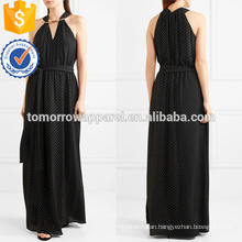 Graceful Black And White Sleeveless V-Neck Midi Summer Dress Manufacture Wholesale Fashion Women Apparel (TA0252D)