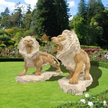 escultura moderna do leão decorativo do jardim exterior mármore escultura