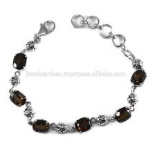 La más nueva joyería de la pulsera de la plata esterlina de la piedra preciosa 925 del cuarzo ahumado del diseñador