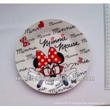 Meilleure qualité Plaque latérale en céramique de Minnie Mouse, assiette personnalisée en céramique