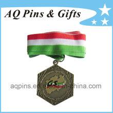 Médaille de bronze antique personnalisée avec ruban