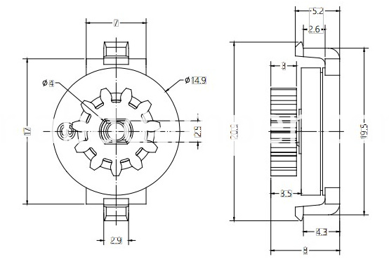 Gear Damper Drawing For Car Ashtray