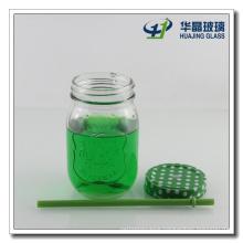 15oz Mason Jar Drinking Glass with Lids and Straws