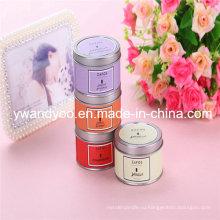 Романтическая декоративная scented свечка сои партии в оловянный