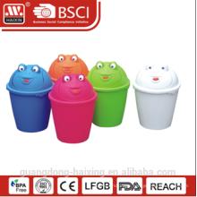 HaiXing promotional plastic frog pattern rubbish bin 6L