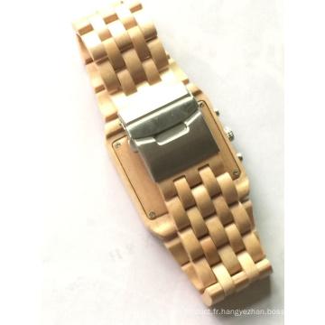 Montres en bois de quartz de montre en bambou de mode de vente supérieure montre en bois de logo fait sur commande