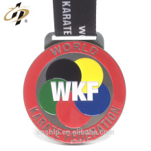 Original factory supply custom alloy WKF metal karate medals with lanyard