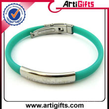 silicone hand bracelet with stainless steel engrave