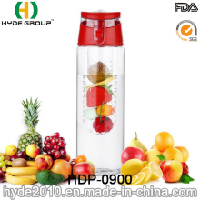 Botella de infusión plástica libre de la fruta de 2016 BPA de la venta caliente, botella de agua modificada para requisitos particulares de la fruta de Tritan (HDP-0900)
