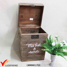 Lidded Farm Distressed Antique Wooden Bin Box