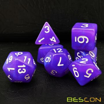 Bescon Moonstone Dice Set Purple Pearl, Bescon Polyhedral RPG Dice Set Efecto Moonstone