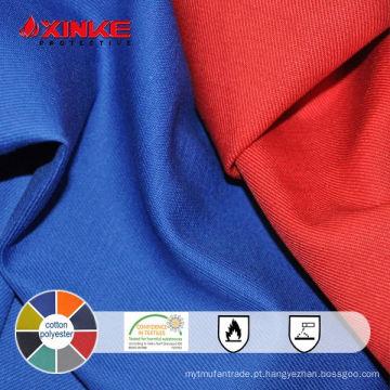 tecido de sarja de algodão poli retardante de chamas para vestuário de trabalho
