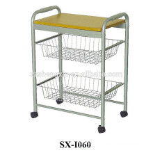 Metal Stainless Steel Serving Carts with Two Baskets for Restaurant