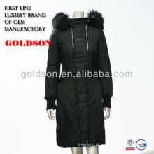 2016 Itália Marca Design Mulheres Long Down Jacket com Real Raccoon Fur & OEM Type Service