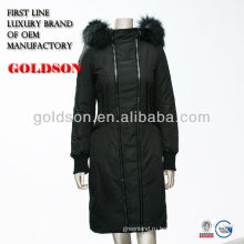2016 Италия дизайн бренда женщин длинные вниз куртка с реальный мех енота & обслуживание OEM типа