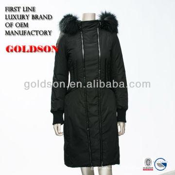 2016 Italia marca de diseño de las mujeres de largo hasta la chaqueta con piel de mapache real y OEM Tipo de servicio