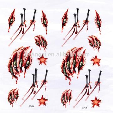 Papel durável da tatuagem do estilo 3D diferente com a cópia sangrenta da garra