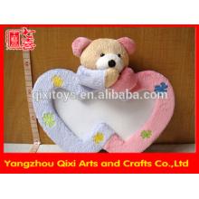 Melhor venda de coração em forma de moldura de foto bicho de pelúcia moldura da foto, quadros de molduras de brinquedo de brinquedo moldura de amor com cabeça de ursinho de pelúcia