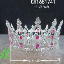 Nuevos diseños rhinestone real accesorios Nuevo alto titanio corona tiara