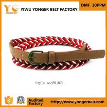 Fuente de la fábrica hermosa moda artesanal trenzado cinturón de cuero para las mujeres