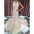 venta al por mayor estilo de corea flor grande de la cola floral color blanco con cuentas de encaje vestido de novia de lujo
