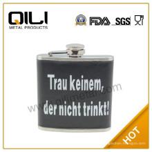 18/8 304 FDA и LFGB высокого качества виски 3 унции кожа завернутый Фляга