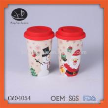 Artículo de regalo de Navidad taza de café de viaje de cerámica taza térmica con tapa