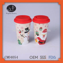 Article de cadeau de Noël Sac de céramique Mug de café Mug thermique avec couvercle
