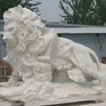 decoración al aire libre del jardín chino antiguo talla de piedra de mármol estatuas de león de tamaño natural para la venta