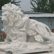 outdoor garden decoration chinese antique stone carving marble life size lion statues for sale