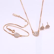 62186 mode 18 karat gold dubai hochzeit bracele halskette und ohrring goldschmuck set