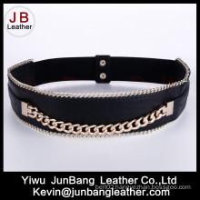 Fashion Women′s Metal Elastic Belt with Chain Edge