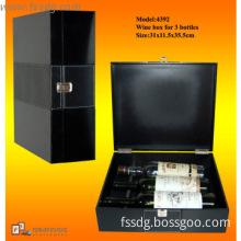 luxury 3 bottle wine leather briefcase