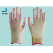 13G Zebra Polyester PU Coated Safety Gloves