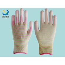 13G Zebra Polyester PU Coated Safety Gloves